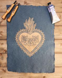 Gold Sacred Heart Lino Print Linoprint, Lino Cuts, Romeo And Juliet, Sacred Heart, Traditional Tattoo, Handmade Art, Printmaking, Ink, Tattoos