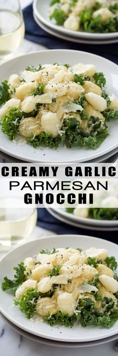 Creamy Garlic Parmesan Gnocchi is a comfort dish that is whipped up in only 15 minutes! Filled with tender gnocchi and kale, then smothered in a light garlic parmesan sauce! (I'd have to skip the kale though. Garlic Parmesan Sauce, Gnocchi Recipes, Pasta Recipes, Dinner Recipes, Cooking Recipes, Radish Recipes, Gnocchi Spinach, Gnocchi Sauce, Bon Appetit