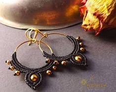 Make Memories. Unique Macrame jewelry for men and von NostalgieArt Macrame Earrings, Macrame Jewelry, Hoop Earrings, Etsy Seller, Metallic, Buy And Sell, Vintage, Stone, Trending Outfits
