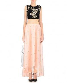 Blush Peach Churidar Skirt with Embellished Blouse