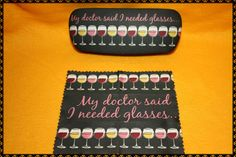 Wine Glasses Eyeglass case hard shell with cleaning by ClownLaugh