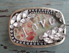 SALE slashKnots vintage rhinestone belt buckle love от slashKnots
