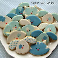 Cat and Dog Face Cookies~     By Sugar Dot Cookies, Blue, Cookie.Catablog.CC