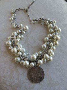 Pearl and Crystal Bead Necklace with Vintage Coin by Margolinn, $68.00