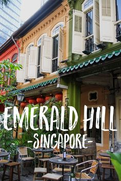 Emerald Hill is one of the best-preserved neighborhoods in Singapore. the homes on this road were build between 1900 and 1925 and are a treat for architecture enthusiasts and color lovers alike. Singapore House, Singapore Guide, Singapore Travel Tips, Holiday In Singapore, Singapore Itinerary, Singapore Sling, Visit Singapore, Singapore Malaysia, Malaysia Travel
