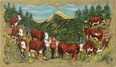 poya vache sur bois