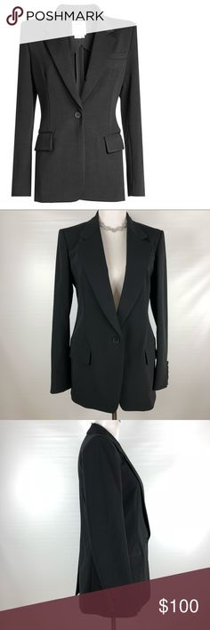 DKNY Black Blazer-White Label Super beautiful high end DKNY Blazer. Amazing pre owned condition. High quality black fabric. Medium weight. Has a very small fabric pull-see last pic. Very missable!! MSRP $600!! This is the luxury DKNY white label!!  Size 8 Dkny Jackets & Coats Blazers