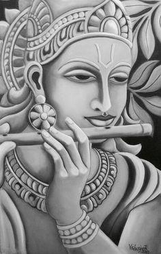 Black and white krishna