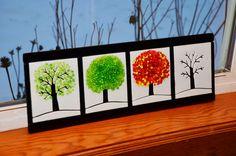 Cuatro estaciones Horizontal con vidrio blanco  arte en