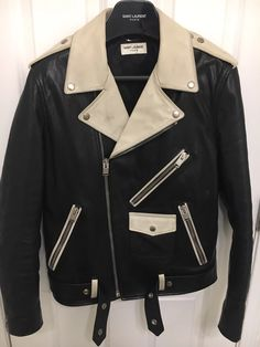 a7bcf73e4df Saint Laurent Paris Runway Saint laurent white and black leather jacket  Size US M / EU