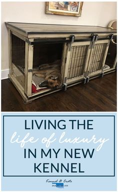 Designer indoor dog kennels! Replace your wire dog crate with a beautiful piece of functional furniture! Enjoy the timeless look of a hand stained furniture, pick a pop of color, or distress for added character! #Dog #Kennelandcrate#Customorders#Stylishdogkennel#dogkennel
