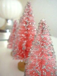 Super Set 6 Vintage PINK & SILVER Glitter Bottle Brush Trees, Putz Doll, Xmas