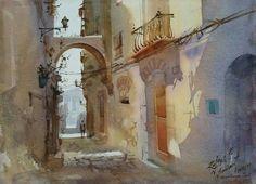 Watercolor Landscape, Watercolor And Ink, Landscape Paintings, Watercolor Paintings, Watercolours, Vision Quest, Unique Art, Sculpture, Contemporary