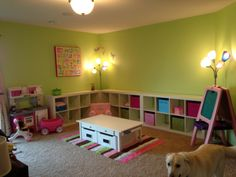 Playroom - love the colors and the expedit storage cubes