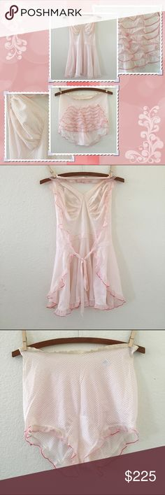 "Vintage Lingerie NWOT Vintage Lingerie ▫️THESE ARE NEW & UNUSED-the pink price tag stem is STILL ON-no damage**very slight vintage scent ▫️Vintage Vanity Fair ruffle butt panties with ruffle over-the-neck halter top-open back with tie ▫️top is approximately 31"" long & bottoms are approximately 14"" long tags say size 32 ▫️nylon tricot ❄plz ask ?s and/or rqst additional photos❄all vintage items may show signs of age/use, only severe issues noted❄all vintage items should be cleaned before use…"