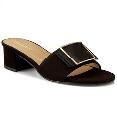 Șlapi SAGAN - 2884  Czarny Wel./Zł Heeled Mules, Sandals, Metal, Shoes, Fashion, Moda, Shoes Sandals, Zapatos, Shoes Outlet