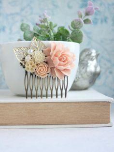 Розовый персик цветок Гребень, Розовые розы, цвета слоновой кости, золотые листья, цветок персика расческой.  Bridesmaids подарков, Сельский Розовый слоновой кости венчания.  Spring Wedding Comb