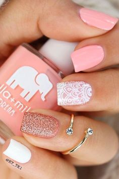 Also, acrylics are robust and very strong, and their application is usually less expensive, comparing to gels application. #pinkandwhitenails