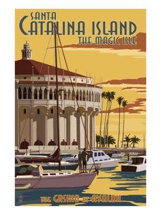 Catalina Island, California - Casino & Marina Premium Poster