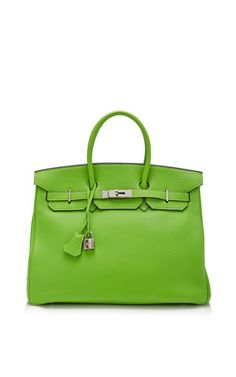 Hermes 35cm vert cru clemence birkin by HERITAGE AUCTIONS SPECIAL COLLECTION for Preorder on Moda Operandi