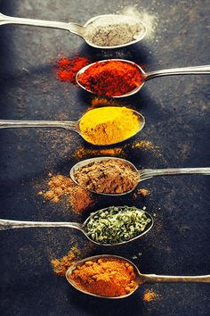 # food background # colorful # spices # metal # spoons # poster # natalia # klenova # indian # with # photography Colorful spices in metal spoons Poster by Natalia K . Food Design, Art Design, India Food, India India, South India, Kerala India, India Art, Northeast India, South Africa