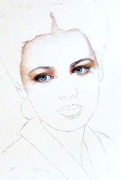 portrait step by step on watercolor artchat porcelain art plus