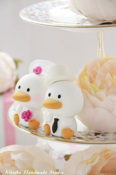 Custom Wedding Cake Topper -Handmade love ducks cake topper