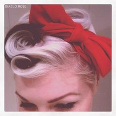 sexy up-do with large red bow