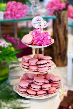 pink macarons for my daughter's party, she loves this color!