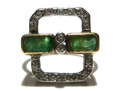 AWESOME VICTORIAN NOUVEAU 14K YELLOW GOLD DIAMOND & EMERALD ESTATE RING 7.25