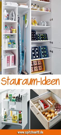 In der Küche kann man nie genug Stauraum haben. You can never have enough storage space in the kitchen. We show you simple ideas with which you can easily keep order and create space. Bedroom Storage, Diy Bedroom Decor, Diy Home Decor, Kitchen Furniture, Diy Furniture, Furniture Storage, Diy Kitchen Storage, Ikea Kitchen, Kitchen Living