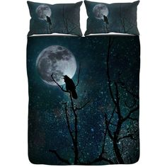 Gothic Bedding Duvet Comforter Cover Set Raven Crow Tree Moon Night... ($115) ❤ liked on Polyvore featuring home, bed & bath, bedding, duvet covers, black, home & living, king size pillow shams, queen duvet, king bedding and twin bedding