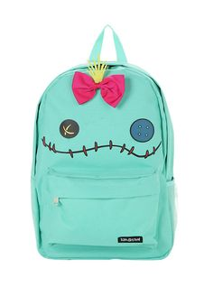 """<p>Canvas backpack from Disney's <i>Lilo & Stitch</i> featuring a Scrump character face design with attached bow detail. Padded back & adjustable straps. Front zip pouch pocket, side water bottle webbing and zip closure. Interior laptop sleeve.</p>  <ul> <li>Approx. 11"""" x 17""""</li> <li>100% polyester</li> <li>Imported</li> </ul>"""