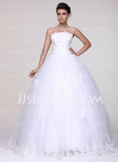 Wedding Dresses - $189.99 - Ball-Gown Strapless Floor-Length Tulle Wedding Dress With Lace Beadwork (002016109) http://jjshouse.com/Ball-Gown-Strapless-Floor-Length-Tulle-Wedding-Dress-With-Lace-Beadwork-002016109-g16109
