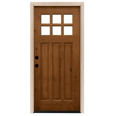Steves & Sons 36 in. x 80 in. Craftsman 6 Lite Stained Knotty Alder Wood Prehung Front Door at The Home Depot - Mobile Exterior Entry Doors, Wood Entry Doors, Oak Doors, Wooden Doors, Panel Doors, Craftsman Front Doors, Brick Molding, Prehung Doors, Knotty Alder