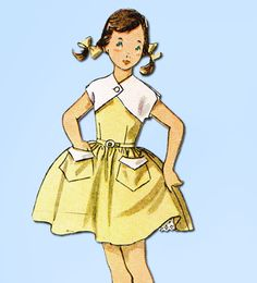 1950s Vintage Simplicity Sewing Pattern 3835 Girls Sun Dress & Bolero Size 10 #Simplicity #DressPattern