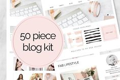 50 Piece Blog Kit Marble & Rose Gold by Inky Jar Design Studio on @creativemarket