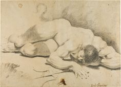 Pietro Faccini  Italian, c.1560-1602  Reclining Male Nude, with Trident, 1593/1602