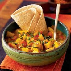 Potato Roti Curry Recipe Side Dishes, Main Dishes with salt, ground cumin, ground turmeric, ground ginger, ground allspice, crushed red pepper, canola oil, chopped onion, garlic cloves, yukon gold potatoes, acorn squash, red bell pepper, water, light coconut milk, chopped cilantro fresh