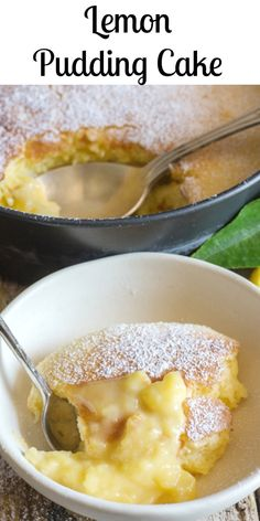 This delicious Homemade Lemon Pudding Cake is the perfect dessert, no need for frosting and makes its own topping. cake Cake This delicious Homemade Lemon Pudding Cake is the perfect dessert, no need for frosting and makes its own topping. Lemon Desserts, Lemon Recipes, Just Desserts, Sweet Recipes, Baking Recipes, Delicious Desserts, Yummy Food, Lemon Pudding Recipes, Vanilla Pudding Desserts