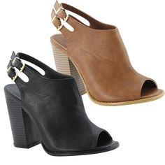 AUD 90.00 Anne Marie Sarah-11 Women Peep Toe Slingback Block Chunky High Heel Sandal
