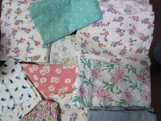 Vintage feed sacks.When I was a girl .almost everything {clothes ect} was sewn from feed sacks..