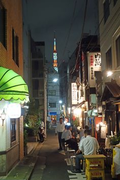 An alley, Hamamatsucho, Tokyo. Tokyo Tower seen at distance. #Japan