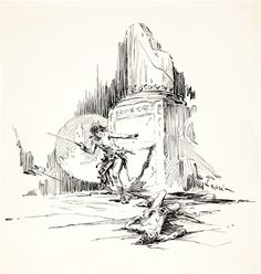 Original Comic Art:Illustrations, Roy Krenkel Heroic Sword and Sorcery Ink Sketch Original Art (c.1960s).... Image #1