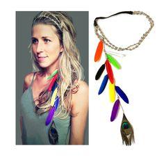 BURNING MAN peacock feather headband,Feather headdress,Boho,Hippie,Festival head chain, hair band, Feather hair chain,Flower headband, gift