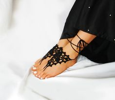 Lace Black Barefoot Sandals, Crochet Beach Sandles from Elvish Things by DaWanda.com