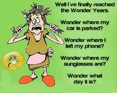 Well I've finally reached the Wonder Years.  Wonder where my car is parked?  Wonder where I left my phone?  Wonder where my sunglasses are?  Wonder what day it is?