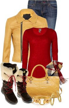"""Gold and Red"" by tammylo-12 ❤ liked on Polyvore"