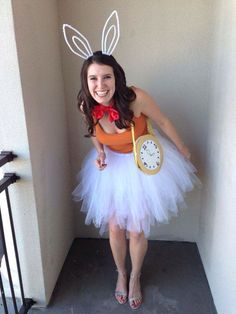 Disney Costume Alice in Wonderland Rabbit DIY Costume - This Halloween, I knew I needed to get a head start. Last year it crept up on me and my costume was thrown together in a fury. The minion look turned out pretty adorably, yet it wasn't super … Disney Halloween Costumes, Cute Costumes, Costumes For Women, Halloween Diy, Costume Ideas, Zombie Costumes, Halloween Couples, Group Halloween, Family Costumes
