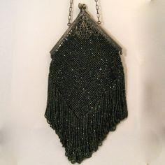Vintage Beaded Purse Long Fringes Carnival Beads